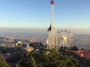Tibidabo Amusement Park, Barcelona sprawled out below