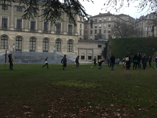 Playing Quidich in the park