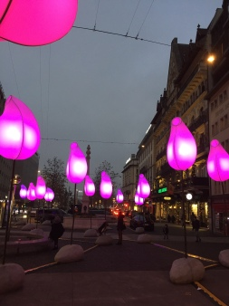 The white blobs light up at night
