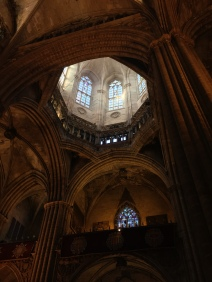 Arty shot of the Barcelona Cathedral ceiling
