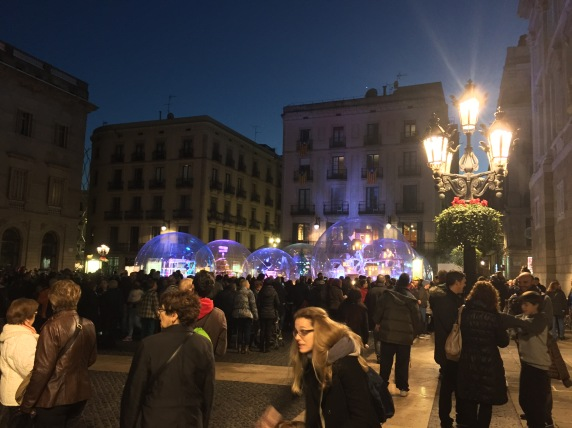 Barcelona town square nativity scene - a bit avant-garde this year