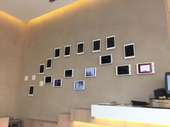 Wall of iPads for information and menu's, Al-Jazeera