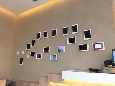 Wall of iPads for information and menu's, Al-Jazeera