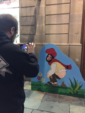 You, thats a kid getting his christmas photo of him having a poop ...