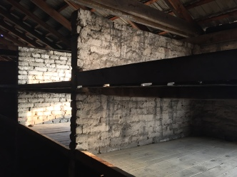 The three tiered beds in one of the death huts in Birkenau